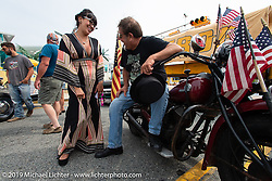 Sabrina Pierce with the Master of Ceremonies Joe Oz with his 1945 Indian Chief (one time NYC police bike!) on setup day for TROG (The Race Of Gentlemen) in Wildwood, NJ. USA. Friday June 8, 2018. Photography ©2018 Michael Lichter.
