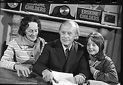 Erskine Childers Press Conference..1973..31.05.1973..05.31.1973..31st May 1973..At a press conference at Fianna Fail headquarters, Mr Erskine Childers, was confirmed as the winner of the presidential campaign. He won by a margin of 52% to 48% beating the favourite Tom O'Higgins,Fine Gael..A happy family portrait shows Mrs Rita Childers, President Elect,Mr Erskine Childers and daughter Nessa posing for pictures at the press conference to celebrate his winning the presidential race.