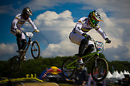 #566 (OQUENDO ZABALA Carlos Mario) COL at the UCI BMX Supercross World Cup in Papendal, Netherlands.