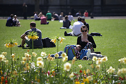 © Licensed to London News Pictures. 21/04/2015. Bristol, Avon, UK. A woman and her child enjoying the warm weather whilst deterring away a seagull on College Green in Bristol today, 21st April 2015. The south west of England is set for more warm temperatures and plenty of sunshine today. Photo credit : Rob Arnold/LNP