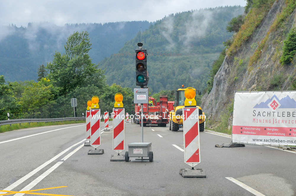 Road works ahead photographed in Germany
