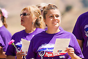 Andrea Gadda, survivor of kidney cancer, celebrates during the opening ceremony of Relay For Life at the Milpitas Sports Center on June 23, 2012.  Photo by Stan Olszewski/SOSKIphoto.