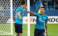 ST PETERSBURG, RUSSIA - OCTOBER 19, 2017. UEFA Europa League group stage: Zenit St Petersburg (Russia) 3 – 1 Rosenborg BK (Norway). Zenit St Petersburg's Emiliano Rigoni (L) and Sebastian Driussi (R) celebrate scoring.