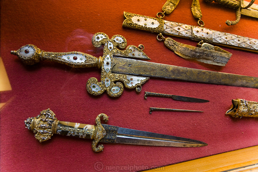 Ancient Russian knives and daggers exhibited at the Hermitage Museum in St. Petersburg, Russia.