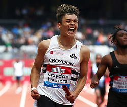 July 22, 2018 - London, United Kingdom - Croydon Harriers celebrates winning the 4 x 100m Relay Boys .during the Muller Anniversary Games IAAF Diamond League Day Two at The London Stadium on July 22, 2018 in London, England. (Credit Image: © Action Foto Sport/NurPhoto via ZUMA Press)