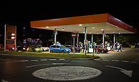 queues Cars into the night at sainsburys lordshill southampton as Panic buying Petrol rather than shortages causing pumps to run dry causing  photo by Michael Palmer