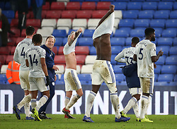Cardiff City manager Neil Warnock (3rd left) and his players acknowledge their travelling fans, after the Premier League match at Selhurst Park, south east London.