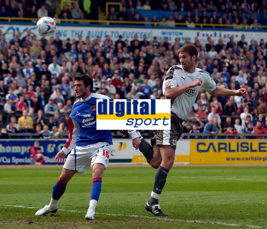 Photo: Jed Wee/Sportsbeat Images.<br /> Carlisle United v Bristol City. Coca Cola League 1. 21/04/2007.<br /> <br /> Bristol City's Jamie McCombe (R) heads in their equaliser.
