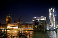 A message projected onto the Elizabeth Tower section of the Westminster Palace / Houses of Parliament reading ''WILL THE LAST PERSON TO LEAVE, PLEASE TURN OUT THE LIGHTS', akin to the well-known Sun headline from the 1992 general election. Photo by roger alarcon