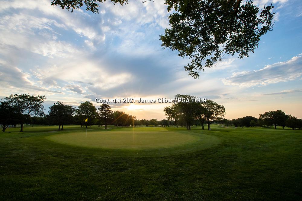 WICHITA, KS - JUNE 20: The Sun rises over the 9th hole before the final round of the Wichita Open Benefitting KU Wichita Pediatrics at Crestview Country Club on June 20, 2021 in Wichita, Kansas. (Photo by James Gilbert/PGA TOUR)