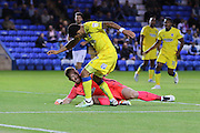 AFC Wimbledon striker Andy Barcham (17) and Peterborough United goalkeeper Ben Alnwick (1) during the EFL Cup match between Peterborough United and AFC Wimbledon at ABAX Stadium, Peterborough, England on 9 August 2016. Photo by Stuart Butcher.