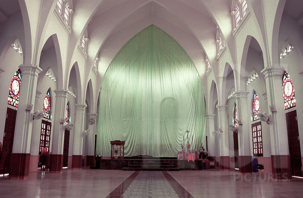 Interior of an empty church in Nam Dinh province, Vietnam, Asia