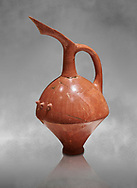 Terra cotta Hittite beaker shaped spouted pitcher - 1700 BC to 1500BC - Kültepe Kanesh - Museum of Anatolian Civilisations, Ankara, Turkey .<br /> <br /> If you prefer to buy from our ALAMY STOCK LIBRARY page at https://www.alamy.com/portfolio/paul-williams-funkystock/hittite-art-antiquities.html  - Type Kultepe  into the LOWER SEARCH WITHIN GALLERY box. Refine search by adding background colour, place, museum etc<br /> <br /> Visit our HITTITE PHOTO COLLECTIONS for more photos to download or buy as wall art prints https://funkystock.photoshelter.com/gallery-collection/The-Hittites-Art-Artefacts-Antiquities-Historic-Sites-Pictures-Images-of/C0000NUBSMhSc3Oo