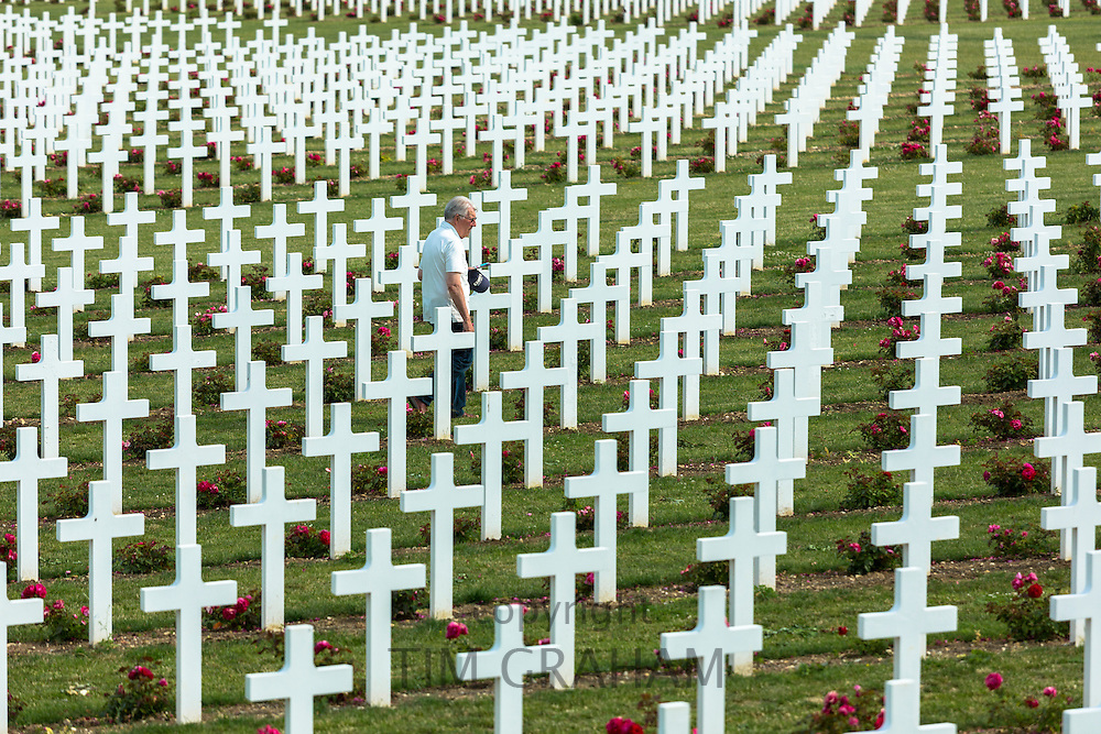 Man visiting the Cemetery of Douaumont at the ossuary, Ossuaire de Douaumont, at Fleury-devant-Douaumont near Verdun, France Verdun, France