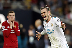 (L-R) Andy Robertson of Liverpool FC, Gareth Bale of Real Madrid, during the UEFA Champions League final between Real Madrid and Liverpool on May 26, 2018 at NSC Olimpiyskiy Stadium in Kyiv, Ukraine