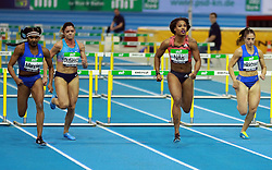 KARLSRUHE, Feb. 4, 2018  Sharika Nelvis (2nd R) of the United States competes during Women's 60m Hurdles final of the 2018 IAAF World Indoor Tour in Karlsruhe, Germany, on Feb. 3, 2018. Sharika Nelvis claimed the title with 7.80 seconds. (Credit Image: © Luo Huanhuan/Xinhua via ZUMA Wire)