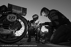 Stage 8 of the Motorcycle Cannonball Cross-Country Endurance Run from Junction City, KS to Burlington, CO., USA. Saturday, September 13, 2014.  Photography ©2014 Michael Lichter.THIS IMAGE IS ONLY AVAILABLE AS  LIMITED EDITION PRINT. TO ORDER A PRINT, GO TO THE LIMITED EDITION SECTION. The title of this limited edition image is - Daily Maintenance. Burlington, CO. 2014