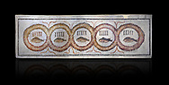Pictures of a geometric Roman doorstep mosaics depicting five fishes surrounded by bars and a medallion, from the ancient Roman city of Thysdrus. 3rd century AD The Small Baths in the M'barek Rhaiem area. El Djem Archaeological Museum, El Djem, Tunisia. Against a black background<br /> <br /> The mosaic depicts the emblem of the Pentasii, a powerful Nortyh African Roman association that organised and  maintained the wild animals and hired animal killers to carry on the games in ampitheatres. .<br /> <br /> If you prefer to buy from our ALAMY PHOTO LIBRARY Collection visit : https://www.alamy.com/portfolio/paul-williams-funkystock/roman-mosaic.html . Type - El Djem - into the LOWER SEARCH WITHIN GALLERY box. Refine search by adding background colour, place, museum etc<br /> <br /> Visit our ROMAN MOSAIC PHOTO COLLECTIONS for more photos to download as wall art prints https://funkystock.photoshelter.com/gallery-collection/Roman-Mosaics-Art-Pictures-Images/C0000LcfNel7FpLI
