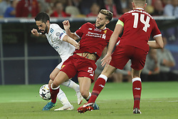 (L-R) Isco of Real Madrid, Adam Lallana of Liverpool FC, Jordan Henderson of Liverpool FC during the UEFA Champions League final between Real Madrid and Liverpool on May 26, 2018 at NSC Olimpiyskiy Stadium in Kyiv, Ukraine