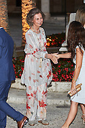 Former Queen Sofia attend a official reception for Authorities at the Almudaina Palace on August 7, 2016 in Palma de Mallorca, Spain
