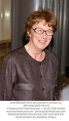 Artist BRIDGET RILEY at a dinner in London on 30th May 2002.PAN 53