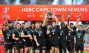 New Zealand All Blacks 7s team celebrate after beating Argentina to win the 2017 HSBC Cape Town Sevens at Cape Town Stadium on 10 December 2017 © Ryan Wilkisky / www.photosport.nz