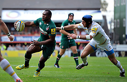 Leicester Tigers winger Vereniki Goneva works his way to the try-line - Photo mandatory by-line: Patrick Khachfe/JMP - Tel: Mobile: 07966 386802 - 08/09/2013 - SPORT - RUGBY UNION - Welford Road Stadium - Leicester Tigers v Worcester Warriors - Aviva Premiership.