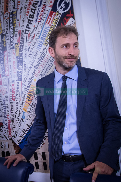 August 2, 2017 - Rome, Italy, Italy - Italy's anti-establishment Five Star movement (M5S) party Davide Casaleggio at Casaleggio Associati,  a company specializing in the definition of innovative networking strategies, gives a press conference at the Stampa Estera  Foreign Press Association in central Rome on  August 2, 2017. (Credit Image: © Andrea Ronchini/Pacific Press via ZUMA Wire)