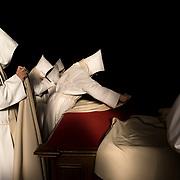 In the silence of the sacristy, after Mass, the monks leave their liturgical habit and dress a black robe. Solesmes 09-01-16<br /> Dans le silence de la sacristie, après la messe, les moines quittent leur habit liturgique pour revêtir une coule noire. Solesmes 09-01-16