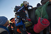 A Central American migrants get on a truck on their way to Tijuana, Mexico from Mexicali on November 20th,2018.