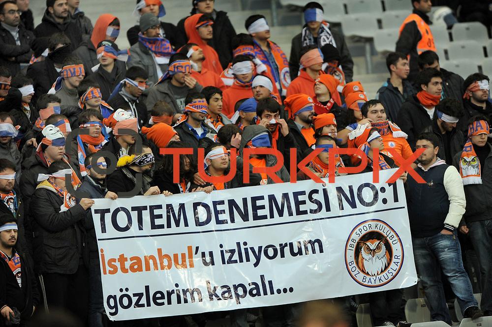 IBBSpor's supporters during their Turkish soccer superleague match IBBSpor between Trabzonspor at the Ataturk Olympic stadium in Istanbul Turkey on Saturday 07 January 2012. Photo by TURKPIX