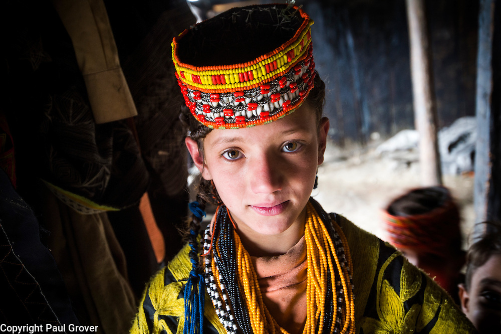 Bumburet, Chitral District,Pakistan.Pic Shows A Kalash girl in the Kalash village in the valley of Bumburet