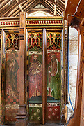 Medieval rood screen paintings of prophets,  Bedfield church, Suffolk, England, UK