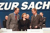 10 APR 2000, ESSEN/GERMANY:<br /> Friedrich Merz, CDU, CDU/CSU Fraktionsvorsitzender, Angela Merkel, CDU Bundesvorsitzende, und Ruprecht Polenz, CDU Generalsekretär, die neue Führungsspitze der CDU, CDU Bundesparteitag, Grugarhalle, Essen <br /> Friedrich Merz, CDU, Chairman of the CDU/CSU parliamentary group, Angela Merkel, Chairwoman of the Christian Democratic Party, and Ruprecht Polenz, General Secretary of the CDU, CDU party congress<br /> IMAGE: 20000410-01/12-06<br /> KEYWORDS: Parteitag