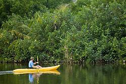 Man kayaking on river near Jaguar Reef Lodge, Hopkins, Stann Creek District, Belize, Central America   MR