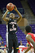 Former West Mesquite point guard Braylon Rayson #2 shoots a three-pointer for the North team during the 2013 THSCA All-Star Basketball Game at Daniel - Meyer Coliseum in Fort Worth on Monday, July 29, 2013. (Cooper Neill/Special Contributor)