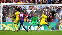 Football - 2021/2022  Premier League - Crystal Palace vs Brentford - Selhurst Park  - Saturday 21st August 2021.<br /> <br /> James McArthur (Crystal Palace) launches a strike at the Brentford goal at Selhurst Park.<br /> <br /> COLORSPORT/DANIEL BEARHAM