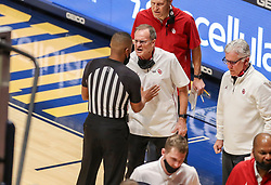 Feb 13, 2021; Morgantown, West Virginia, USA; Oklahoma Sooners head coach Lon Kruger argues a call during the second half against the West Virginia Mountaineers at WVU Coliseum. Mandatory Credit: Ben Queen-USA TODAY Sports