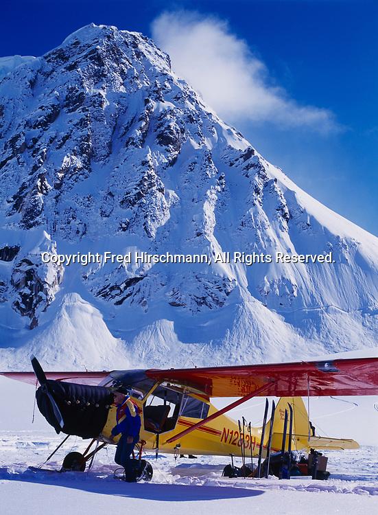 Pilot George Murphy with his Aeronca 15AC Sedan on wheel skis, Don Sheldon Amphitheater, Denali National Park, Alaska Range, Alaska.