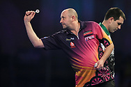 James Wilson in his match against William O'Connor during the World Darts Championships 2018 at Alexandra Palace, London, United Kingdom on 19 December 2018.