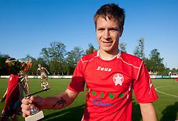 Robert Kurez of Aluminij with a  trophy after the football match between NK Aluminij Kidricevo and NK Roltek Dob in 27th, last Round of 2nd SNL, on May 19, 2012 in Sports park Kidricevo, Slovenia. NK Aluminij defeated NK Dob 2-1, won 2nd SNL and qualified to 1st SNL. (Photo by Vid Ponikvar / Sportida.com)