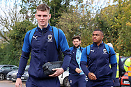 AFC Wimbledon Jack Rudoni (12), AFC Wimbledon defender Kyron Stabana (14) and AFC Wimbledon midfielder Anthony Wordsworth (40) arriving during the EFL Sky Bet League 1 match between AFC Wimbledon and Lincoln City at the Cherry Red Records Stadium, Kingston, England on 2 November 2019.