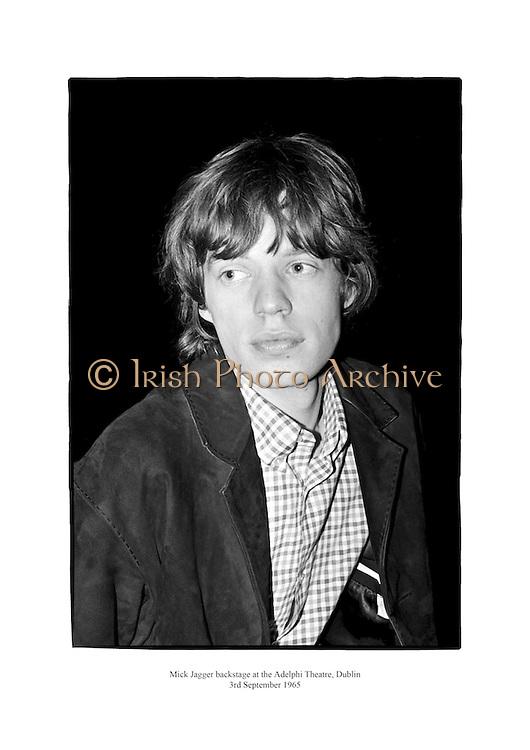 Mick Jagger backstage at the Aldelphi Theatre, Dublin.<br /> <br /> 3rd September 1965<br /> 03/09/1965