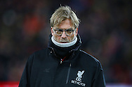 Liverpool Manager Jurgen Klopp looks on .Premier League match, Liverpool v West Ham Utd at the Anfield stadium in Liverpool, Merseyside on Sunday 11th December 2016.<br /> pic by Chris Stading, Andrew Orchard sports photography.