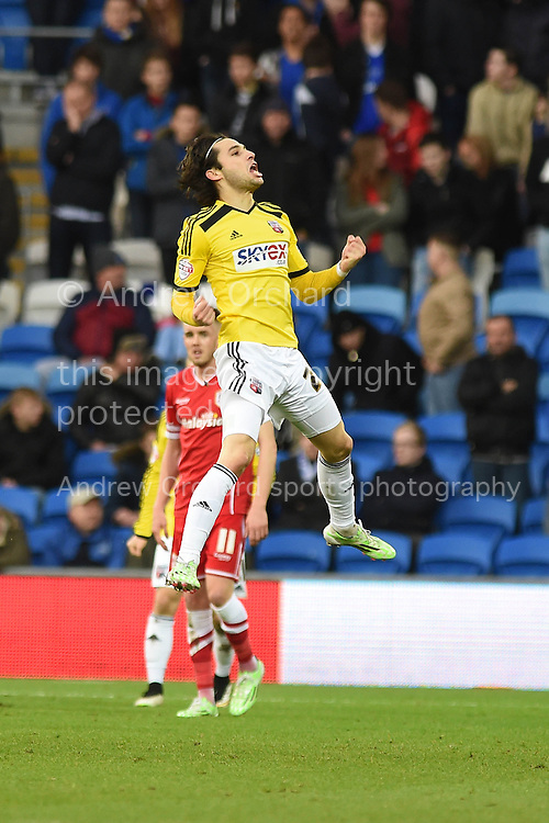 Jota Peleteiro Ramallo of Brentford celebrates after he scores his teams 3rd goal. Skybet football league championship match, Cardiff city v Brentford at the Cardiff city stadium in Cardiff, South Wales on Saturday 20th December 2014<br /> pic by Andrew Orchard, Andrew Orchard sports photography.