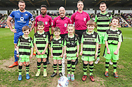 Officials and captains during the EFL Sky Bet League 2 match between Forest Green Rovers and Chesterfield at the New Lawn, Forest Green, United Kingdom on 21 April 2018. Picture by Shane Healey.