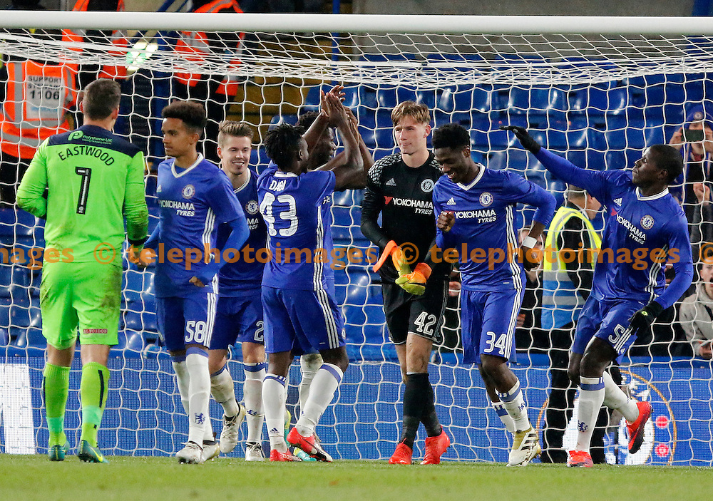 Chelsea's Bradley Collins is the hero in the shoot out during the Checkatrade Trophy match between Chelsea U21's and Oxford United at Stamford Bridge in London. November 8, 2016.<br /> Carlton Myrie / Telephoto Images<br /> +44 7967 642437