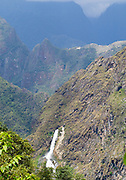 View of Machu Picchu and the Hydroelectric (Hidroelectrica) Generator's outfall, taken from near Llactapata, Peru.