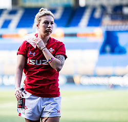 Keira Bevan of Wales looking dejected after the match<br /> <br /> Photographer Simon King/Replay Images<br /> <br /> Six Nations Round 3 - Wales Women v England Women - Sunday 24th February 2019 - Cardiff Arms Park - Cardiff<br /> <br /> World Copyright © Replay Images . All rights reserved. info@replayimages.co.uk - http://replayimages.co.uk