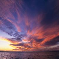 Hawaii, Kauai, sunset sky at Kalalau Beach